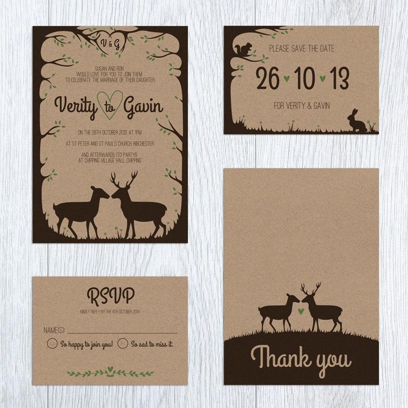 woodland wedding invite deer stag rustic printable With rustic stag wedding invitations