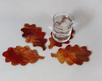 Summer/Autumn Wet Felted Oak Leaf Coasters, reversible, wool, silk