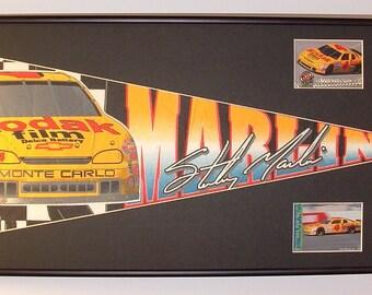Vintage NASCAR driver #4, Sterling Marlin, Kodak pennant & cards...Custom Framed!