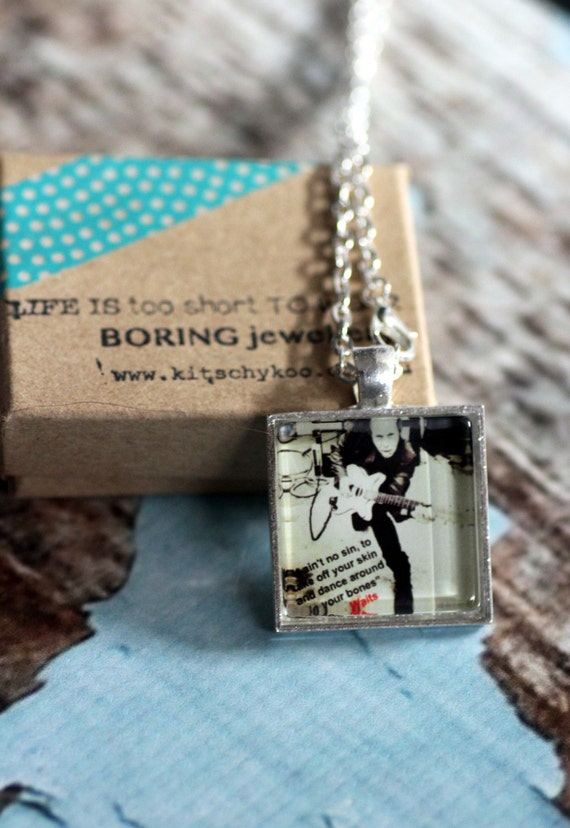 Tom Waits glass tile pendant necklace quote