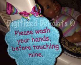 Digital Please Wash Your Hands Baby Carseat Embroidery Design Label In The Hoop