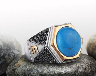 Personalized Silver Ring With Individual 10k GOLD Initials Mens Gemstone Handmade Vintage Ottoman Style :FREE Shipping via FedEx 59426
