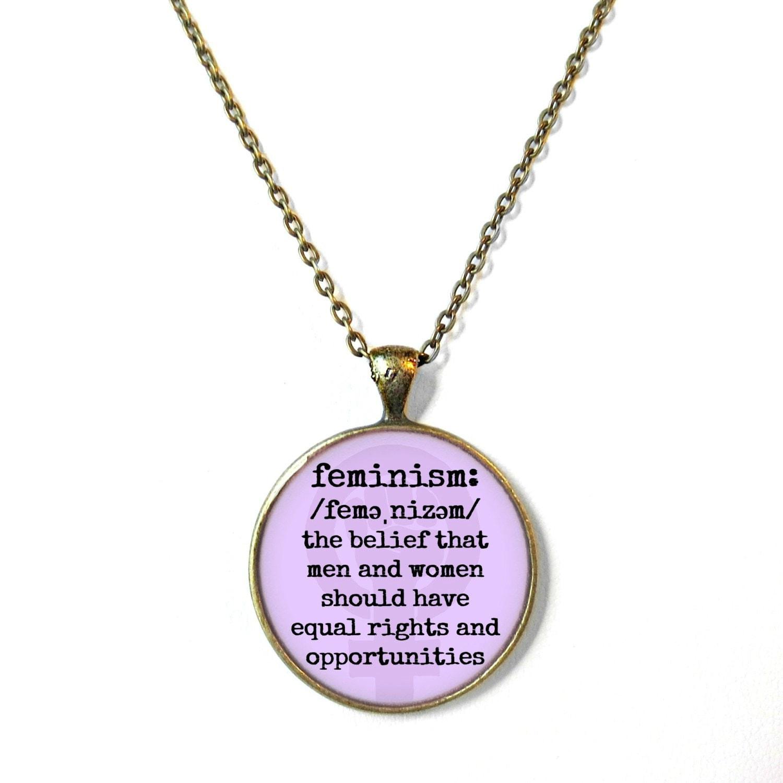 Lavender Definition of Feminism Necklace Pro Feminist