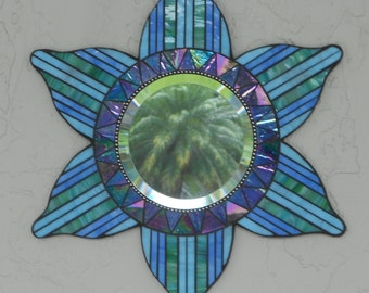Stained Glass Mosaic Mirror, Blue/Green #605