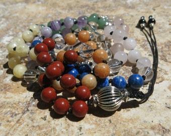 7 Chakra Mala, 8mm beads 108 bead Mala Jasper, Calcite, Aventurine, Rose Quartz, Lapis, Amethyst, Clear Quartz, Black Tourmaline