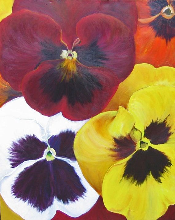 Items similar to large flower painting pansies original for Painting large flowers in acrylic