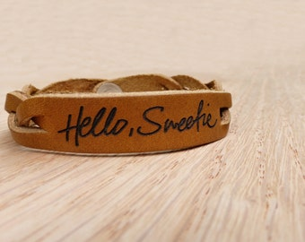 Custom Handwritten Message laser engraved on a Saddle Leather Braided Bracelet
