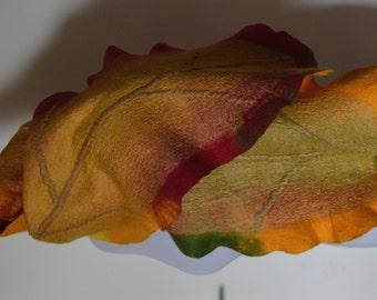 Scarf Autumn, felt, wool, accessories, leaves, fire, warm, felted, handmade