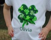 Girls St. Patrick's Day Shirt, Green Shamrock Irish Applique, Personalized, Monogrammed, Embroidery. Baby, Toddler, Tee, Bodysuit, T-Shirt