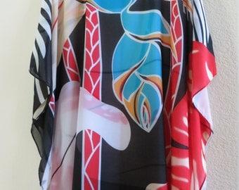 Abstract Print Beach Coverup, Womens Tunic, Womens Blouse,  Caftan, Kaftan