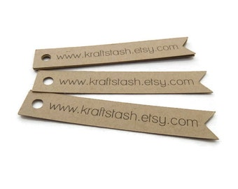 60 Custom Tags - Banner Tags - Flag Tags - Branding Tag - Hang Tags - 3 x 0.5 inch - Kraft Tags - Personalized Tags - Website Tags BT12