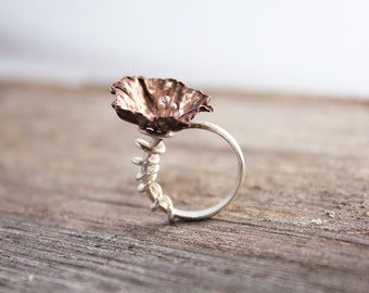 Fold Formed Copper Flower Sterling Silver Band Between the Finger Ring