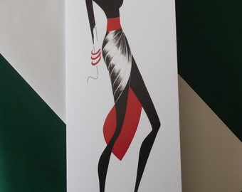 Greetings card, elegant, red shoes, stylish, chic, fashion illustration, ArtFashionByRomilly