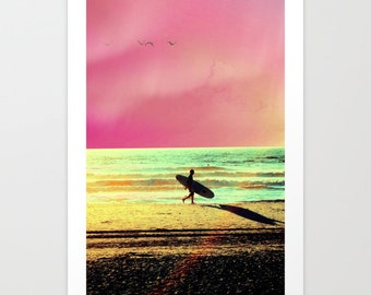 Surf Poster, Surfer Photography, Retro Surfer, Surfing Photo, Pop Art, Beach Print, Ocean Photo, Pink Surfer, Mint green, Salt Life, Dude
