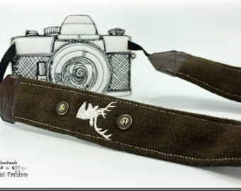 special offer for DAVID Camera strap, brown, bavarian style with deer