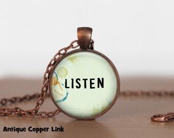 Listen Necklace Inspirational Quote Pendant Necklace or Keyring Inspirational Jewelry Inspirational Necklace
