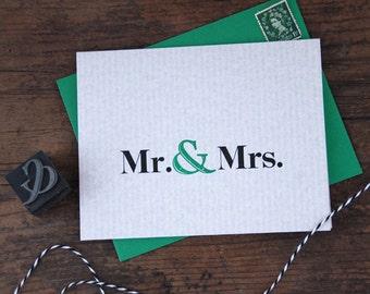 Mr. & Mrs. Letterpress Greeting Card