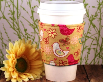 Fabric Coffee Cozy / Little Birdie Coffee Cozy / Bird Coffee Cozy / Coffee Cozy / Tea Cozy