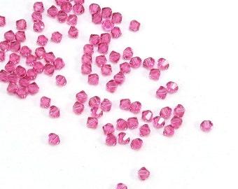 Swarovski Crystal 4mm Bicones, 24 Rose Pink 4mm Bicone Glass Beads, High Quality Bicones, Item 193B