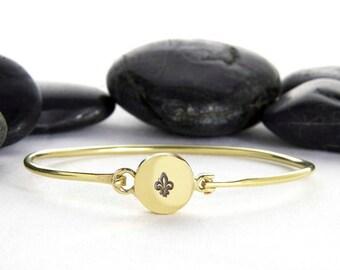 Fleur De Lis, French Jewelry, New Orleans Jewelry, French, Paris Jewelry, Fleur, New Orleans, French Bracelet, Gold Fleur De Lis, b248br