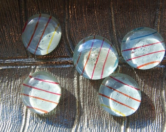 Rainbow Lines Glass Magnets - Set of 5