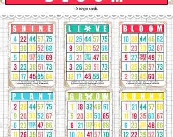 "Digital Bright Spring and Summer Bingo Cards/ ephemera cards / 5"" by 7"" and 3.5"" by 5"" / downloadable / printable / grow bloom sunny"