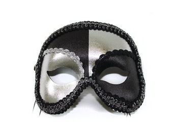 Antonio Black-Silver Men's Masquerade Mask - A-0661BS-E