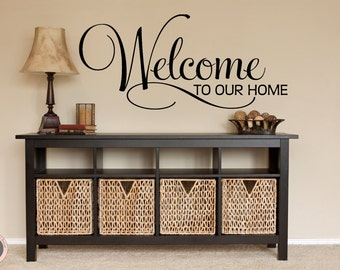 Welcome Decal, Welcome Sign, Family Wall Decal, Welcome Home, Welcome Home Sign, Welcome Wall Decal, Welcome Vinyl Decal