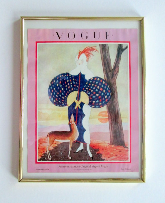 Vogue 1924 Magazine Cover Poster Framed By Marsel Mirror