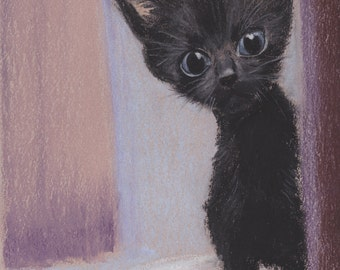 "Black Kitten 2  - 8"" x 10"". Profits go to help homeless cats. Giclee print of original pastel painting"