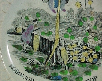 Antique English Staffordshire Child's Pottery Plate, Robinson Crusoe,Baily & Ball 1847