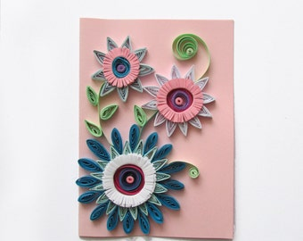 Pink Quilling Flower Card, Flower Greeting Card, Birthyday Card, Handmade greeting card, Mother's day card