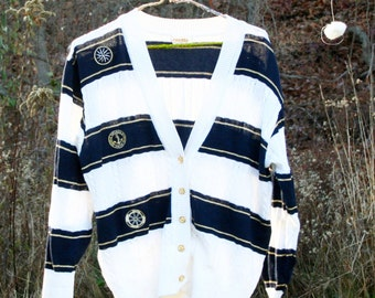 Vintage 90s Nevada Sailor Sweater, Anchor Sweater, Navy & White Stripes, Knitted Sweater, Sailing Sweater, Nautica Sweater, Metallic Sweater