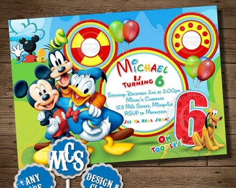 HUGE SELECTION Mickey Mouse Invitation, Birthday Invitation, Party Invitation, My Celebration Shoppe, Clubhouse, Clubhouse Pintables