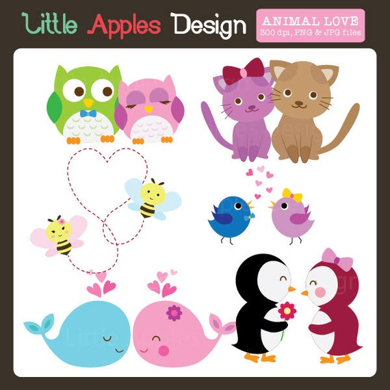 Animal Love ClipArt / Valentine Clip Art / Couple by ...