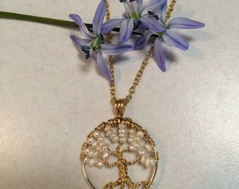 White Wedding Tree Of Life Necklace Pearl Pendant On Gold Chain Wire Wrapped On 14K Gold Filled Chain