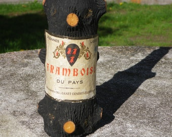 French Vintage liqueur bottle in the shape of a pruned tree, tree shaped bottle, novelty liqueur bottle,home bar accessories,pub memorabilia