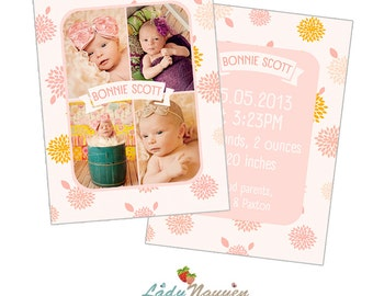 INSTANT DOWNLOAD 5x7 Birth announcement card template - CA003