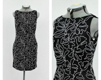 Vintage 90s Black and White Dress,Linen Dress, Embroidered Dress, Party Dress, Boat Neck Dress, Sheath Dress, Short Dress, Sleeveless Dress