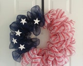 Fourth of July American Flag Wreath