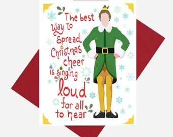 Elf Christmas Card / Funny Holiday Card / Buddy the Elf Card ...