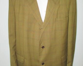 1960's Green Plaid Blazer sport coat, Mad Men Jacket, Rockabilly blazer Tall Man's Size