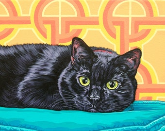 Black Cat Archival Art Print, Funky Animal Art, Mid-Century Modern Cat Print, Halloween Cat Illustration
