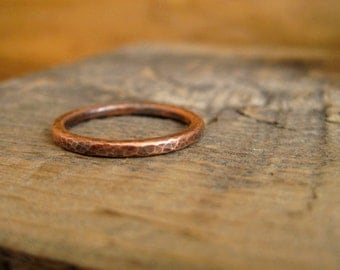 Copper Stacking Ring Hammered Texture Wedding Ring Copper Band with Patina