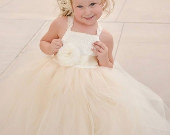 Lace & Tulle Tutu Floor Length Junior Bridesmaids Dress - A Toddler or Child Dress, Pageant, Baptism  - The Payton-Marie Dress