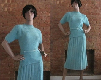 1950s bouclé wool knit sweater & skirt set | 40's 50's WWII Retro Pinup Old Hollywood