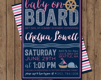 Girly Nautical Baby Shower Invite: Digital Printable File