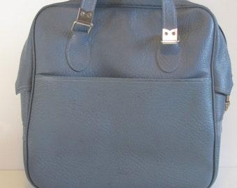 Vintage Dusty Blue Vinyl Carry On Luggage / Shoulder Bag / Purse / Tote