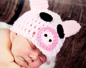 Crochet Pink Pig PIGGY Hat  Blue piggy hat Many Sizes preemie, newborn, 0-3 month,3-6 month, 6-12 month,, 1-3 yr also available in blue