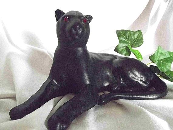 Vintage black panther ceramic panther red eyed panther panther - Ceramic black panther statue ...